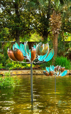 Title: Lotus , Medium: Copper and Steel